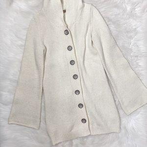 Prana White Hood Flare Sleeve Cardigan Sweater